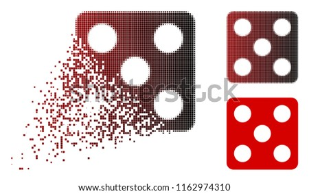 Stock Photo Dice icon in dispersed, pixelated halftone and undamaged solid versions. Pieces are arranged into vector sparkle dice icon.