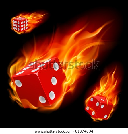 dice in fire illustration on