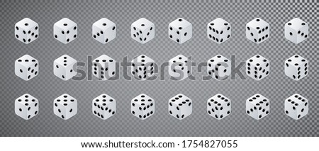 Dice isometric. Variants white game cubes isolated on transparent background. Vector Stock photo ©
