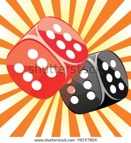 Dice lucky casino gambling game win success glossy illustration