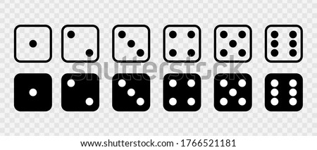 Dice Set vector icon. Game dice. Dice with six faces of cube isolated on transparent background. Stock foto ©