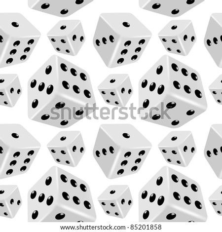 Dices seamless background. Vector