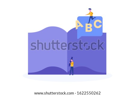 dictionary illustration concept for web landing page template, banner, flyer and presentation