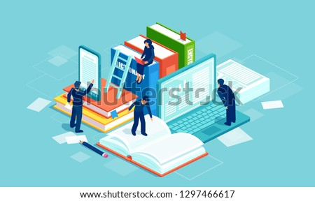 Dictionary, modern library and web archive. Literature and digital culture. Vector of people reading books using modern technology.