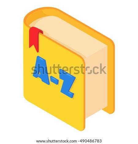 Dictionary of english language icon in cartoon style. Translate vocabulary symbol. Illustration of dictionary cartoon icon logo isolated on white