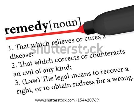 dictionary term of remedy isolated on white background