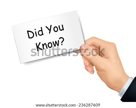 did you know card in hand