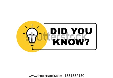 Did You Know label design with light bulb and rays. Logo design. Vector illustration.