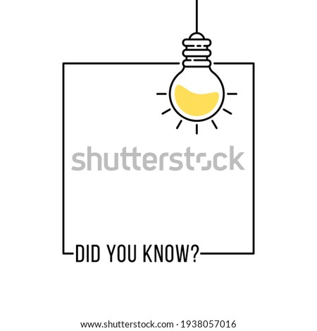 did you know like hanging bulb in frame. outline flat simple trend modern graphic linear web banner design element isolated on white. concept of easy recipe or think outside box or importance facts Photo stock ©