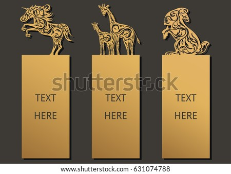 Die and laser cut with Animals set of ornate cards. Template frame for greeting card, invitation card, bookmark and label with space for your text. Vector illustration design.