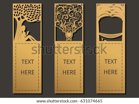 Die and laser cut with Trees set of ornate cards. Template frame for greeting card , invitation, bookmark and label with space for your text. Vector illustration design.