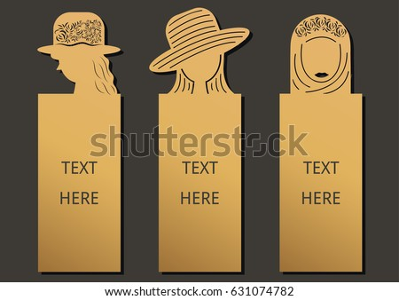 Die and laser cut with Woman set of ornate cards. Template frame for greeting card invitation, bookmark and label with space for your text. Vector illustration design.