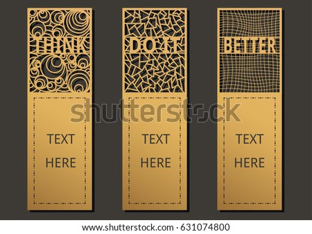 Die and laser cut with Wording set of ornate cards. Template frame for greeting card invitation, bookmark and label with space for your text. Vector illustration design.