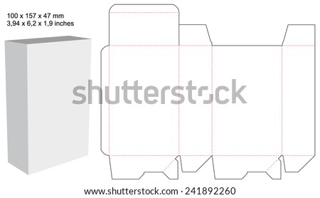 Die Box Design Vector Shape With Sizes And An Example 241892260