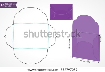 Die cut c5 vector envelope template. Standard c5 size envelope to hold a5 size card. Cut out original envelope mock up with flap. Wedding invitation envelope for cutting machine of laser cutting.