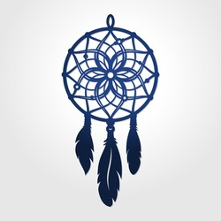 Die cut dream catcher silhouette. May be used for laser or stencil cutting. Cutout paper boho dream catcher with feathers. Vector silhouette. Silhouette cameo cutting file.