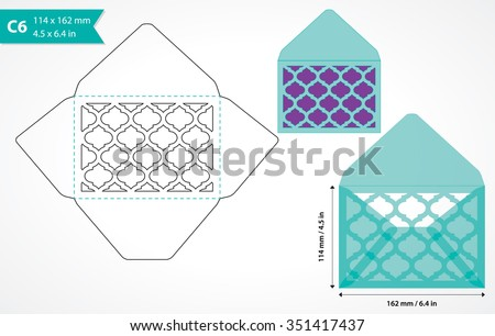 Invitation envelope court download free vector art stock graphics die cut envelope template vector standard c6 size designed envelope to hold a6 size card stopboris Gallery