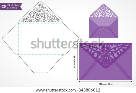 Die cut envelope template vector. Standard c5 size designed envelope to hold a5 size card. Envelope mockup with swirly cutout flap. Wedding invitation envelope for cutting machine of laser cutting.