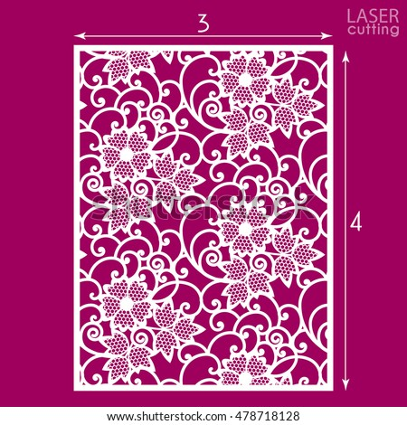 Die cut ornamental panel with seamless pattern. May be use for laser cutting. Lazer cut card. Silhouette pattern. Cutout paperwork. Cabinet fretwork panel. Lasercut metal panel. Wood carving.