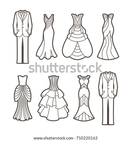 Die cut silhouettes of Wedding royal dresses and masculine suits. Cutout elegant Bride and Groom shapes. Romantic cliparts are suitable for greeting cards, announcements, scrapbooking.