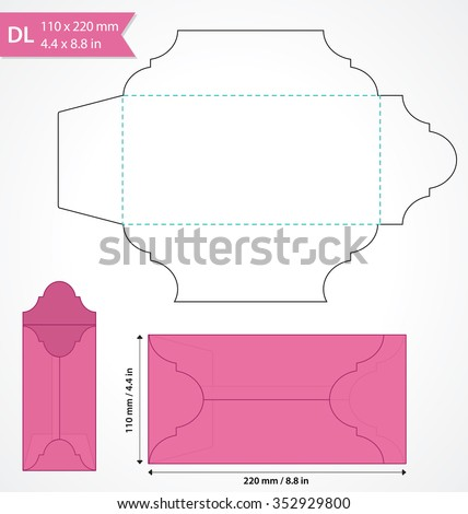 Die cut vector envelope template. Standard DL size envelope to hold folded a4 size paper. Cut out original envelope mock up with flap. Wedding invitation envelope.