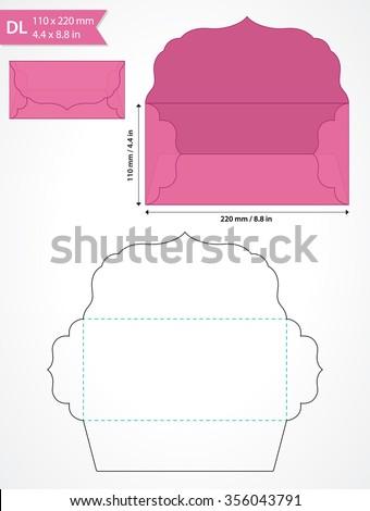 Die cut vector envelope template with swirly flap.