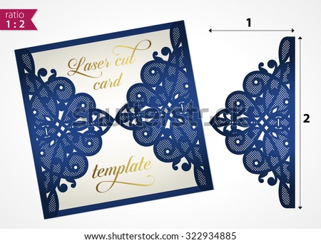 Perfect Die Cut Wedding Invitation Card Template. Paper Cut Out Card With Lace.  Laser Cut