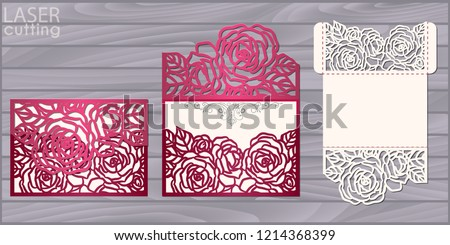 Die laser cut wedding card vector template. Invitation pocket envelope with roses pattern. Wedding lace invitation mockup.