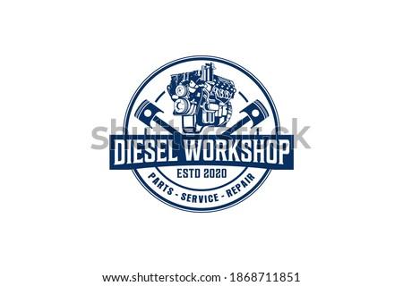 Diesel engine logo vector. workshop automotive transportation engine piston element. Stock photo ©