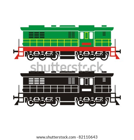 diesel locomotive on white background