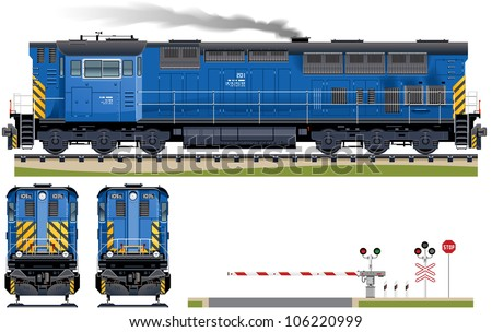Diesel Locomotive (Train #5). Pixel optimized. Elements are in the separate layers. In the side, back and front views.