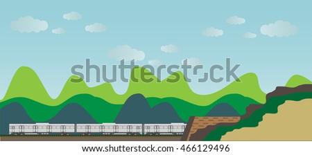 diesel railcar train and tunnel