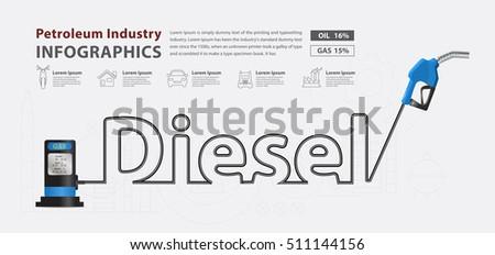 Diesel typographic pump nozzle creative design, Fuel pump icon, Petrol station sign, vector illustration modern layout template design