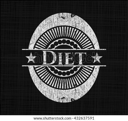 Diet chalk emblem, retro style, chalk or chalkboard texture