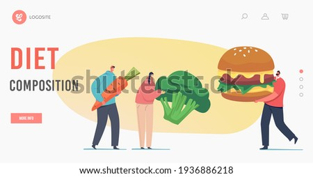 Diet Composition Landing Page Template. Meat Eater vs Vegetarian Meals Choice. Tiny Characters with Huge Carrot, Broccoli and Burger. Healthy and Unhealthy Food. Cartoon People Vector Illustration Stock photo ©