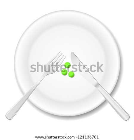 Diet concept. Three peas on a plate