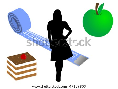 Diet conceptual illustration with food and measure tape