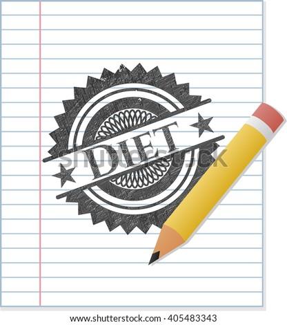 Diet emblem drawn in pencil