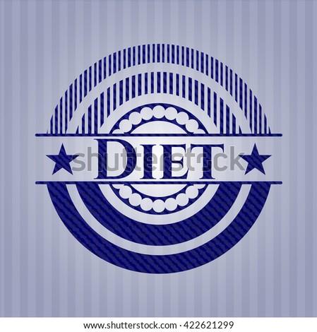 Diet emblem with jean background