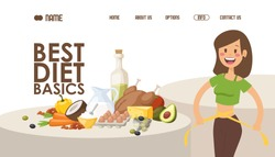 Diet for weight loss, website design vector illustration. Landing page with recipe of healthy food, nutritionist tips and article. Happy woman measures her waist after loosing weight. Best diet basics