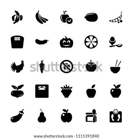 Diet icon. collection of 25 diet filled icons such as carrot, beet, eggplant, apple, lemon, boiled egg, raspberry, floor scales, lemon. editable diet icons for web and mobile.