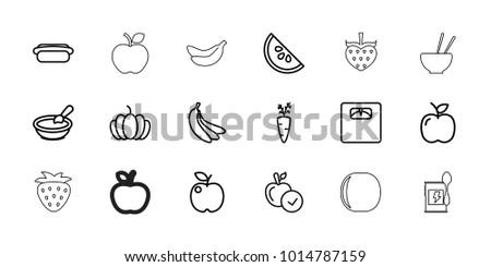 Diet icons. set of 18 editable outline diet icons: porridge, apple, carrot on fork, pumpkin, floor scales, hot dog, watermelon, banana, strawberry, peach, banana