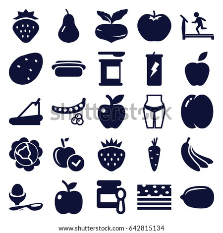 Diet icons set. set of 25 diet filled icons such as strawberry, potato, carrot, pear, peach, beet, peas, cabbage, apple, baby food, treadmill, lemon, boiled egg, hot dog