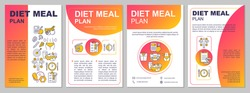 Diet meal planning brochure template. Mindful eating, dietary food. Flyer, booklet, leaflet print, cover design with linear icons. Vector layouts for magazines, annual reports, advertising posters