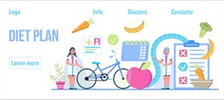 Diet plan concept vector. Nutrition diet, weight-management, individual dietary planning. Organic fruits, bike, sport activity for  weight loss program in healthy life style.