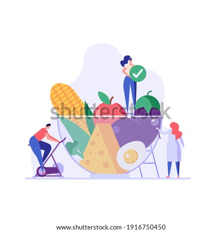 Diet plan illustration. People exercising and doing fitness. Doctor planning diet with vegetable. Concept of dietary eating, meal planning, nutrition consultation. Vector illustration for web design