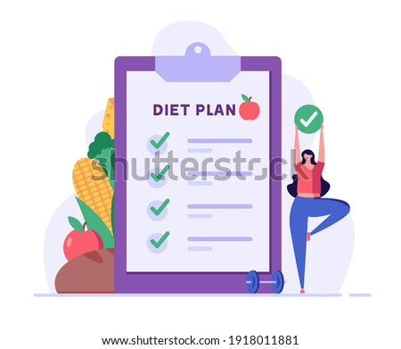 Diet plan illustration. People exercising and doing fitness. Woman planning diet with vegetable. Concept of dietary eating, meal planning, nutrition consultation. Vector illustration for web design