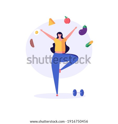 Diet plan illustration. Woman exercising and planning diet with fruit and vegetable. Concept of dietary eating, meal planning, nutrition consultation, healthy food. Vector illustration for web design