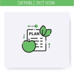 Diet plan line icon. Checklist. Individual diet list. Dietary nutrition. Calorie count. Slimming concept. Weight loss. Portion control. Healthy eating. Isolated vector illustration. Editable stroke