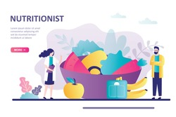 Diet plan with healthy food and physical activity. Concept of calorie control, individual dietary service. Man and woman nutritionist profession. Landing page or website template. Vector illustration
